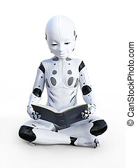 3D rendering of robotic child reading.