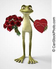 3D rendering of romantic cartoon frog holding a bouquet of roses and a chocolate box.
