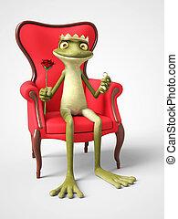 3D rendering of romantic cartoon frog prince proposing.