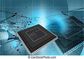 3d rendering of semiconductor in digital color background