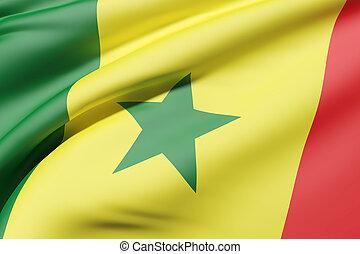 Senegal flag waving