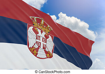 3D rendering of Serbia flag waving on blue sky background