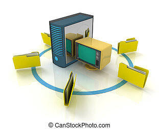 3d rendering of Server with file folder. 3D rendered illustration