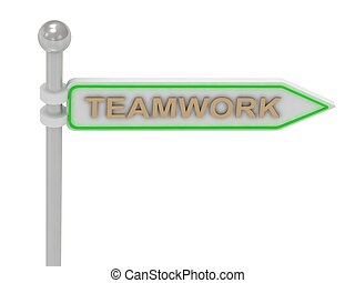 "3d rendering of sign with gold ""TEAMWORK"""