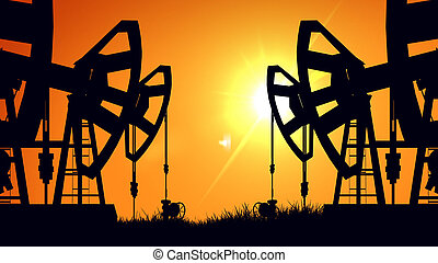 3D rendering of Silhouette pump jacks at sunset. Oil industry.