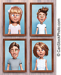 3D rendering of silly cartoon family portraits on the wall.