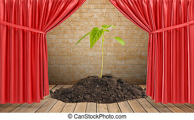 3d rendering of small plant growing from a pile of soil standing on stage draped in red curtains.