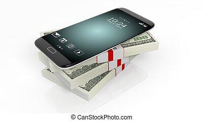 3D rendering of smartphone on 100 Dollar banknotes bundles stack,on white