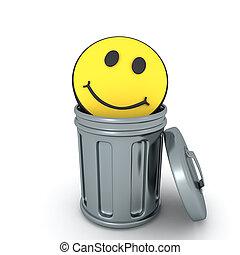 3D Rendering of smile emoji in garbage can