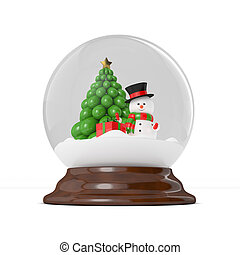 3d rendering of snowman in a snow globe over white