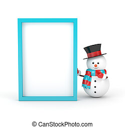 3d rendering of snowman with blank board isolated over white