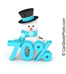 3d rendering of snowman with discount isolated over white