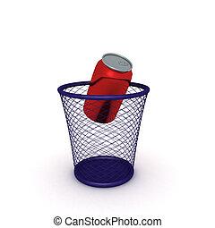3D Rendering of soda can in waste bin