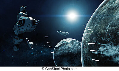 3D rendering of spaceship in battle a cosmic scene