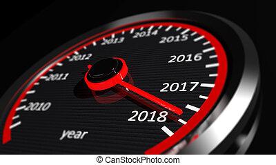 3D rendering of speedometer with 2018 closeup, on black ...