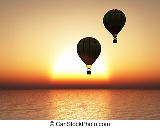 3D rendering of sunset with hot air balloons in silhouette.