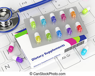 3d rendering of supplements pills lying on keyboard