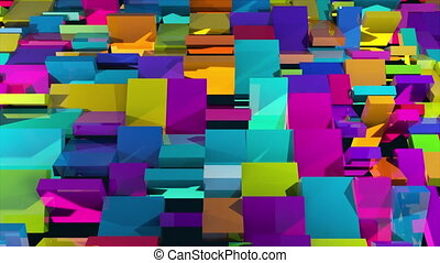 3d rendering of surface with the rotating colorful rectangles. Computer generated abstract background.