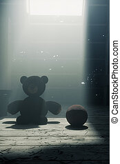 3d rendering of teddy bear sitting on the attic floor next to the leather ball