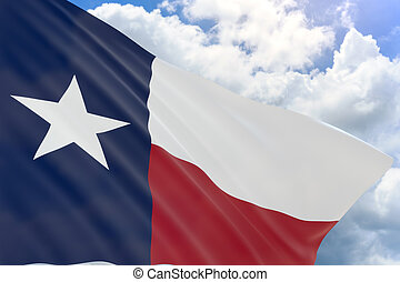 3D rendering of Texas flag waving on blue sky background