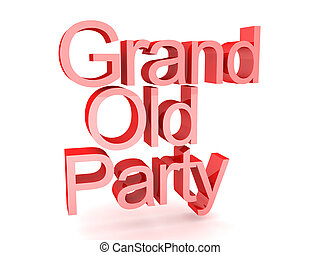 3D Rendering of text saying grand old party. 3D Rendering...