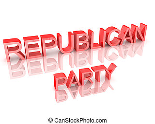 3D Rendering of text saying Republican Party. 3D Rendering...