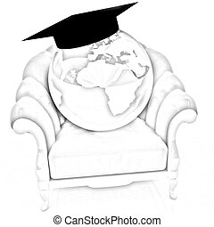 3D rendering of the Earth on a chair
