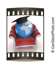 3D rendering of the Earth on a chair. The film strip