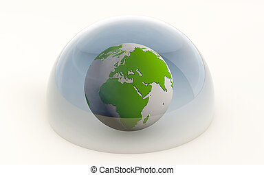 3d rendering of the earth protected isolated under a dome