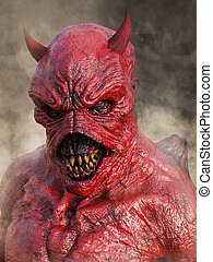 3D rendering of the face of a devil.