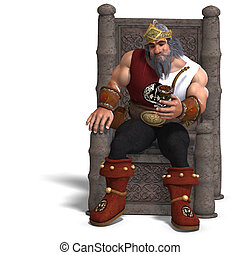 3D rendering of the king of the fantasy dwarves with clipping path and shadow over white