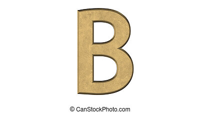 3d rendering of the letter B in brushed metal on a white isolated background