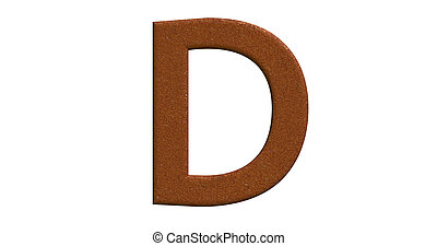 3d rendering of the letter D in brushed metal on a white isolated background