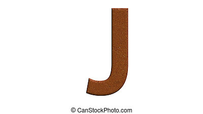 3d rendering of the letter J in brushed metal on a white isolated background