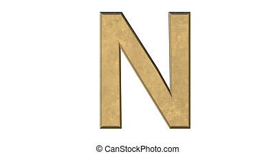3d rendering of the letter N in brushed metal on a white isolated background