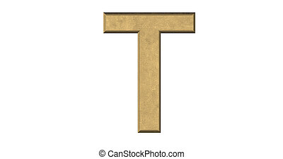 3d rendering of the letter T in brushed metal on a white isolated background