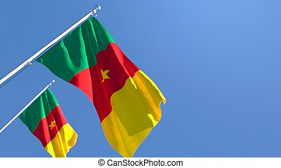 3D rendering of the national flag of Cameroon waving in the wind