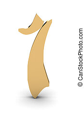 3d rendering of the number 1 in gold metal