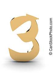 3d rendering of the number 3 in gold metal
