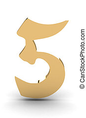 3d rendering of the number 5 in gold metal