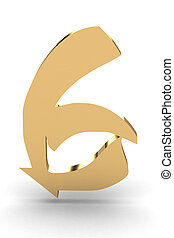 3d rendering of the number 6 in gold metal