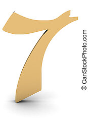 3d rendering of the number 7 in gold metal