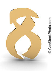 3d rendering of the number 8 in gold metal