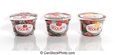 3D rendering of  three fruit Yogurt plastic cups packaging, isolated on white background.
