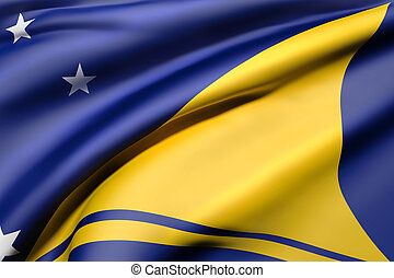 Tokelau flag waving