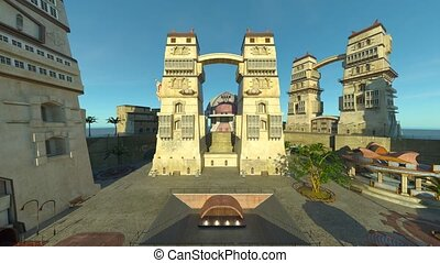 3D rendering of tourist destination