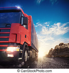 3D rendering of truck transport - 3D rendering transporter...