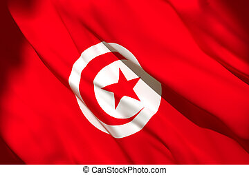 3d rendering of Tunisia flag