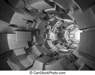 3D rendering of architectural abstract, concrete blocks tunnel
