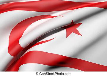 Turkish Republic of Northern Cyprus flag waving